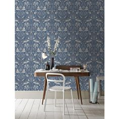 Shop for Arthouse Wallpaper Folk Floral Denim Blue at wilko - where we offer a range of home and leisure goods at great prices. Feature Wallpaper, Wallpaper Roll, Dining Chairs, Dining Table, Stationery Craft, Floral Denim, Blue Wallpapers, Floral Wall, Home Art