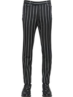 LANVIN -- black and white pinstripe fitted cotton trousers from the Autumn/Winter 2014 runway collection