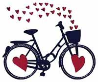 CME Bicycle Love Embroidery Design; hearts on two wheels! $4.99 at shopsewitall.com