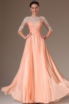 2014 Round Neckline 3/4 Length Sleeve Prom Dress Ruched Bodice A Line Floor Length With Appliqeu
