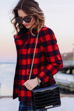 Jess of Prosecco  amp  Plaid in our Buffalo Check Jacket! Preppy Winter f0dc747bc6e0