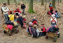 Waldkindergarten - Forest kindergarten - Wikipedia, the free encyclopedia Outdoor Learning Spaces, Outdoor Play Areas, Outdoor Education, Preschool Education, Preschool At Home, Preschool Ideas, What Is Forest School, Us Education System, Kids Backyard Playground