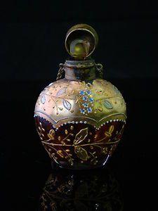 Genuine-19th-Century-Victorian-Era-Bohemian-Moser-Glass-Perfume-Bottle-Mint