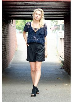 Stylish way of wearing navy crochet top