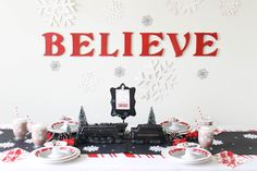 All aboard, this is the Polar Express! This Polar Express party is perfect for every little girl and boy. Polar Express Theme, Polar Express Train, Polar Express Games, Polar Express Crafts, Polar Express Christmas Party, Ward Christmas Party, Christmas Train, Kids Christmas, Xmas