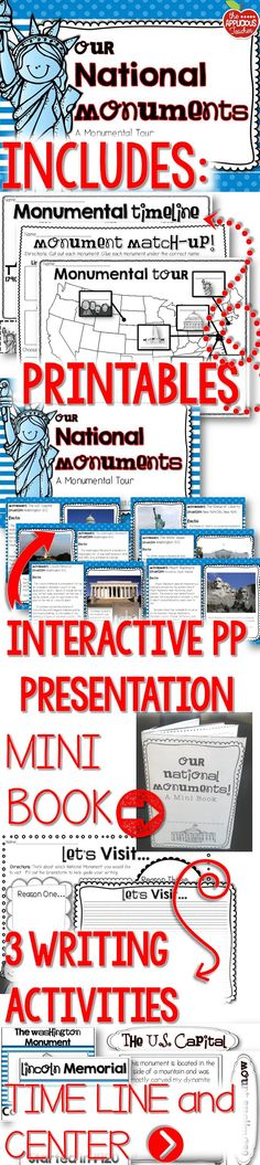 National Monuments Unit- Use this unit to go on a trek across the United States as your class tours of the 6 famous National Monuments. Interactive PowerPoint presentation, printables, timelines, centers, writing extensions. Everything you need!
