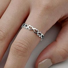 .925 Sterling Silver Ring size 4 Heart Midi Knuckle Fashion Kids Ladies New p57 #Unbranded #Band