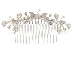 Bridal headpiece - Floral bridal comb with pearl and rhinestone - Veil comb - Virginia Bridal Back Piece with Swarovski Crystal, $90.00