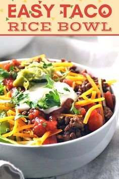 You NEED this easy, healthy, kid-friendly, and budget friendly TACO RICE BOWL in your life! It is perfect for a quick meal any night of the week and leftovers make for a satisfying lunch too! Mexican inspired recipe when you feel like a fiesta! #LTGrecipes #ricebowlrecipes #tacorecipes #mexicanrecipes #easyrecipes #quickrecipes