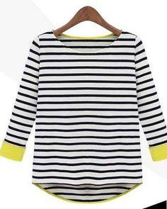 Amazon.co.jp: (フルールドリス)Fluer de lis ネオン マリン ボーダー ストライプ Tシャツ カットソー トップス インナー カジュアル ブルー ブラック 黒 アパレル レディース ファッション 服 3103: 服&ファッション小物
