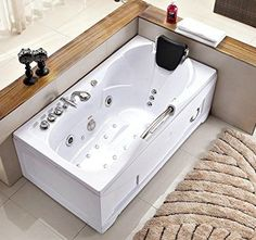 60 Inch White Bathtub Whirlpool Jetted Bath Hydrotherapy 19 Massage Air  Jets Inline Heater Shower Wand Ozone Clean IPod Radio, 3 Skirts Fits Left,  ...