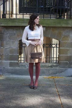 Skirt: Vintage/Thrifted, Blouse: Vintage/Reruns, Shoes: Allen Company Inc., Bag: Vintage/estate sale, Belt: Thrifted, Necklace: Lawrence