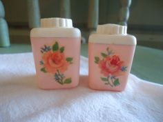 Vintage Shabby Chic Lustro Ware Pink Salt and Pepper Shakers - Decorated with Meyercord Rose Decals