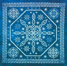 NEWEST!    Celtic Snow is meant to evoke the feeling of a snowy winter night with the moonlight glinting off freshly fallen snow.   Stitch count is 209 x 209. Supplies required:  36-count Midnight Tryst linen from Hand-Dyed Fabrics by Stephanie.  Suggested substitute is 32-count Blue Spruce Belfast (3609-578)   Dinky-Dyes Silk Floss: 03, 07 x 2, 08, 54, 71, 79, 81 (with DMC substitutes)  Mill Hill Beads: 40161, 3041, 283