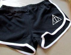 Deathly Hallows Symbol Gym PE shorts - running exercise ladies womens fitness clothing 80s roller derby style harry potter inspired
