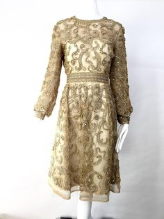 1960s Malcolm Starr gold cocktail dress