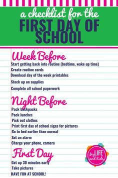 How to Have a Great First Day of School Help your kids have the best first day of school ever with these simple tips and activities. From finding the perfect outfit to tips for pictures, and even free sign printables, these back to Before School Routine, School Night Routine, School Routine For Teens, Night Before School, School Routines, Back To School Organization For Teens, Back To School Hacks For Teens, Ready For School, Middle School Hacks