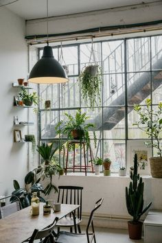 Beautiful home decoration with lots of plants! // home // interior // plants // green home Interior Exterior, Home Interior Design, Interior Decorating, Studio Decorating, Decorating Ideas, Decorating Websites, Interior Doors, Industrial Interior Design, Industrial Interiors