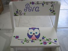 Personalized step stool Owl and Cherry Blossom --  ring bearer, newborn, baby shower, 1st birthday gift