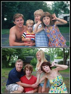 Cute idea for past and present family photos. Love it :)....I have the PERFECT pic to do like this with the kids when they are older!