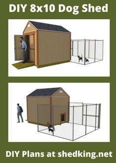 This diy 8x10 gable shed is easy to build and can be used for a multitude of purposes. Here I show it being used for a dog kennel. The easy to use and understand plans come with building guide, materials list, and email support. Learn more about these backyard shed plans by visiting shedking today and you might just save some money with your purchase Shed Building Plans, Shed Plans, 3d Building Models, Workshop Shed, Dog House Plans, Build Your Own Shed, Shed Homes, She Sheds, Diy Shed