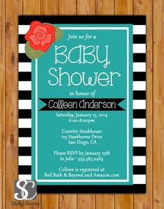 Floral Turquoise Baby Shower Invitation Black & by scadesigns, $16.00