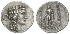 THRACIA, Maroneia, silver tetradrachm, approximate 189 / 8-49 / 5 BC, Aversum: Dionysus head to the right, reverse: Dionysus based with spears (or narthex-rods) and grapes left, Schönert-Geiss 1150 (V51 / R158), planchet fault in the edge, 16. 64 g, almost extremly fine    Dealer  Auction house Ulrich Felzmann    Auction  Minimum Bid:  150.00EUR