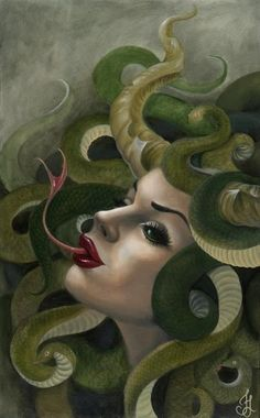 Medusa // This depiction shows Medusa with very beautiful face but contrasts that with a forked snake tongue coming out of her mouth.  This piece shows a good juxtaposition between the two unique aspects of Medusa.