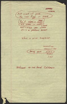 "Memorabilia Monday - Don Henley's handwritten notes/lyrics for ""Hotel California"""