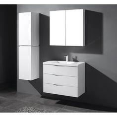 """Madeli Bolano-36-GW Bolano Glossy White 36"""" Modern Single Sink Bathroom Vanity"""