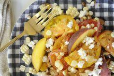 tomato & peach salad with fresh corn and feta