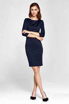 Robe crayon bleu femme habillée ajustée élégante NIFE S88 36 38 40 42 44 46 8b822158aaab