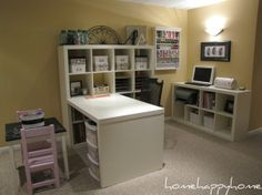 My scrapbook craft nook, This is my scrapbooking and crafting space. It is in the corner of our finished basement. Everything is organized and easy to find. My daughter has her own art table and supplies beside me! Please check out my new blog  www.homehappyhome.blogspot.com, Home Offices Design