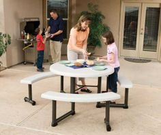 SO Lifetime Round Picnic Tables - 80063 Roof Brown 44 in. Swivel Bench Picnic Table - Shipping Included!