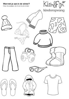 Werkblad winter kleding Drawing For Kids, Art For Kids, Crafts For Kids, Vocabulary Activities, Preschool Activities, Coloring Books, Coloring Pages, Kids Class, Thematic Units