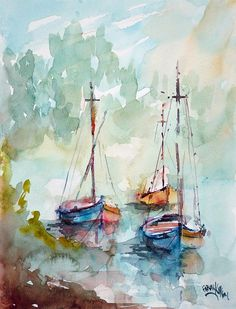 Boats On Lake Art Print by Faruk Koksal - Malerei Watercolor Artists, Watercolor Techniques, Watercolor Landscape, Watercolour Painting, Painting & Drawing, Watercolors, Lake Painting, Sailboat Painting, Lake Art