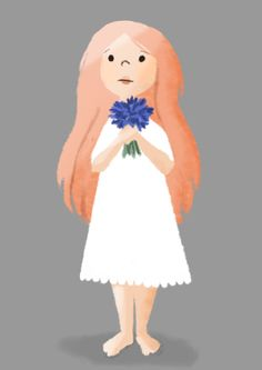 Girl with flowers, character design by Manja Ciric