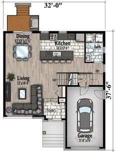 Northwest House Plan with Contemporary Influences - floor plan - Main Level Cottage Style Homes, Cottage House Plans, Modern House Plans, Small House Plans, Small Floor Plans, Architectural Design House Plans, Architecture Design, Contemporary Cottage, Apartment Plans