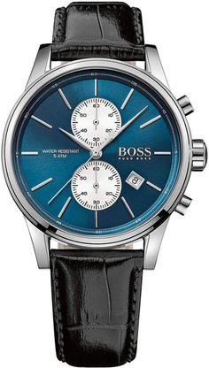 33944aa6b BOSS Hugo Men's Chronograph Jet Black Leather Strap Watch 41mm 1513283 Moda  Masculina, Relojes Hombre