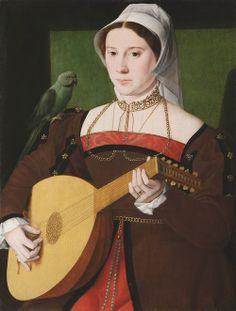 1540s Master of the 1540s - Portrait of a woman playing a lute, with a parrot on her shoulder