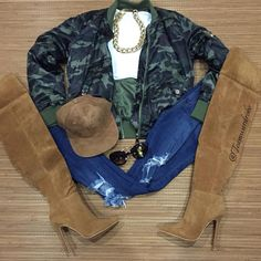 «How #chic is this #ootd #ootn #lotd  Get the look: Bomber Jacket Camouflage On fleek Jeans Soho Chestnut Assorted Faux suede hat Chestnut…»