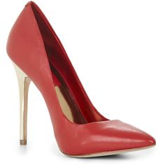 BCBGMAXAZRIA Onnie Metallic-Heel Pump ($90) ❤ liked on Polyvore featuring shoes, pumps, heels, sapatos, zapatos, bright red, pointy pumps, high heels stilettos, closed toe pumps and red leather pumps