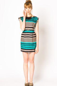 Multi Stripe Dress - Jade
