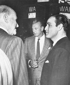 End of production party for Guys and Dolls with Sam Goldwyn, Gary Cooper and Marlon Brando, 1955