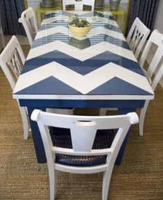 Chevron to the rescue of this old table found at a flea market. Love the navy + white color scheme!