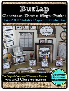 Editable BURLAP Classroom Decor Theme - 200 pages - Check out the 34 different… 5th Grade Classroom, Middle School Classroom, New Classroom, Classroom Setup, Classroom Design, Kindergarten Classroom, Classroom Organization, Reggio Classroom, Classroom Management