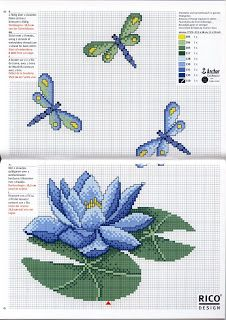Dragonflies and waterlily - free cross stitch pattern More