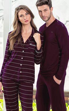 BETTINA. 'SMART-CASUAL'. Inédito Modal listrado com Lycra exclusivo no conjunto de cardigan e calça. A existência de detalhes tornam a peça exclusiva, como bordado no bolso, botões personalizados e limpeza interna de gola. Mens Fashion Trends 2019, Big Men Fashion, Plaid Pajamas, Pyjamas, Night Suit, Night Gown, Lingerie Sleepwear, Nightwear, Mens Pjs