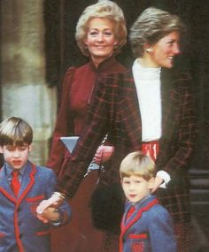 Diana with her mum  boys