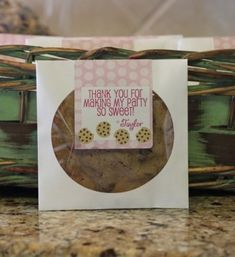 Giant cookie in a CD sleeve as a favor